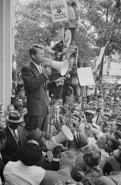 Attorney General Robert Kennedy speaking before a hostile Civil Rights crowd protesting low minority hiring in his Justice Department June 14, 1963[258]