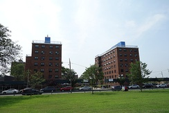 Rockaway Community Park was planned along with the Edgemere Houses (pictured), which opened in 1960.