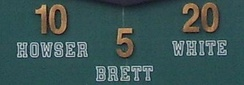 In 1995, White's number 20 was retired alongside George Brett and Dick Howser.