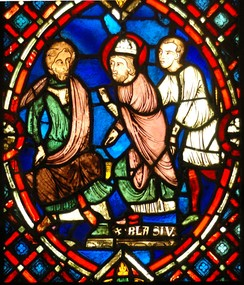 French stained glass panel, 13th century, depicting Saint Blaise