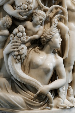 Detail from a sarcophagus depicting a Mother Earth figure (3rd century AD).