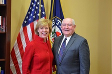 Baldwin with former Governor of Georgia and Secretary of Agriculture Sonny Perdue in February 2017