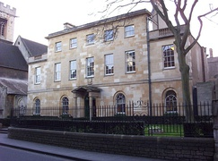 Linton House houses the Porters' Lodge and Library
