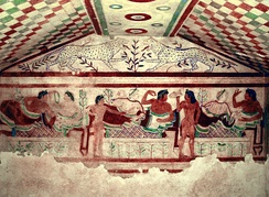 Etruscan Civilization fresco from the Tomb of the Leopards