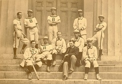 The 1879 Brown baseball varsity, with W.E. White seated second from right; White's appearance in an 1879 major league game, the first for an African American, came 68 years before Jackie Robinson permanently broke the baseball color line[53]