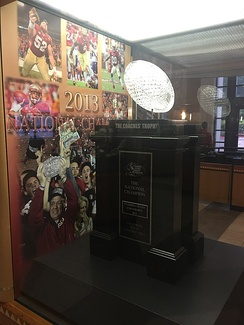 The BCS National Championship trophy on display at Florida State University. The 2013 Championship game marked the end of the BCS era.
