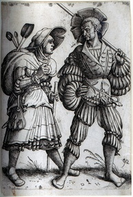 The Soldier and his Wife. Etching by Daniel Hopfer, who is believed to have been the first to apply the technique to printmaking.