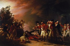 Painting of a battle scene at night, with a group of British officers standing on the right-hand side looking and gesturing towards a group of British and Spanish soldiers fighting on the left side of the picture