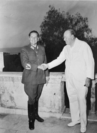 Partisan leader Marshal Josip Broz Tito with Winston Churchill in 1944
