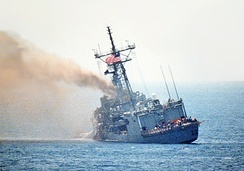 USS Stark listing following two hits by Iraqi Exocet missiles