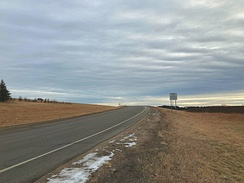 Slip Road onto United States Highway 2 in Minnesota (right-hand-traffic). The length of this slip road has been designed to allow cars to reach 65 mph (105 km/h) at the end of the road in order to join the highway safely.