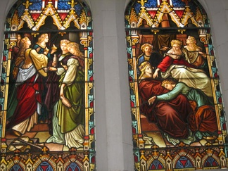A depiction of the Parable of the Ten Virgins on a stained glass window in Scots' Church, Melbourne