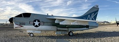 "A VA-97 A-7 Corsair II at Naval Air Station Fallon Nevada US Air Park Museum that was on the USS Coral Sea flown by Vice Admiral Andrew (""Woody"") L. Lewis"