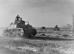 132nd regiment tanks on the move during the Battle of Gazala