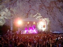 "The ""Theatro Vrachon"" (Theater of the Rocks) at Vyronas is a venue for popular music concerts"