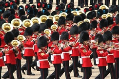 Massed bands of the British foot guards during the 2007 Trooping the Colour, an annual ceremony in which the military bands provide the music.