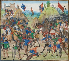 Miniature of the Battle of Crécy (1346) Manuscript of Jean Froissart's Chronicles.  The Hundred Years' War was the scene of many military innovations.