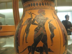 Ancient Greek black-figure pottery depicting the return of a hunter and his dog; made in Athens c. 540 BC, found in Rhodes