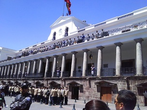 Carondelet Palace, Presidential Palace – with changing of the guards. The Historic Center of Quito, Ecuador, is one of the largest, least-altered and best-preserved historic centers in the Americas.[97] This center was, together with the historic centre of Kraków in Poland, the first to be declared World Heritage Site by UNESCO on 18 September 1978.
