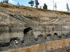 Ancient channel deposit in the Stellarton Formation (Pennsylvanian), Coalburn Pit, near Thorburn, Nova Scotia.