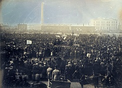 "April 10: ""Monster Rally"" of Chartists held on Kennington Common in London; the first photograph of a crowd depicts it."