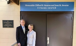Cliff and Joan Stearns at the dedication of the Fitness Center, Phoenix House in Citra, FL.