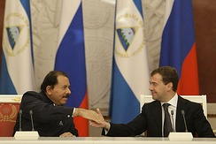 Nicaraguan president, Daniel Ortega with then Russian President Dmitry Medvedev in Moscow in 2008