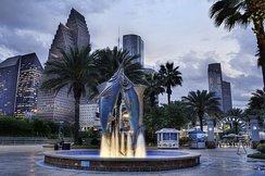 Fountain of the Downtown Aquarium, Houston, in 2012