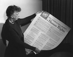 """It is not a treaty...[In the future, it] may well become the international Magna Carta.""[210] Eleanor Roosevelt with the Universal Declaration in 1949"