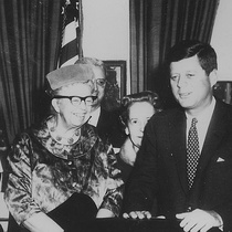 Eleanor Roosevelt and John F. Kennedy (President's Commission on the Status of Women) - NARA cropped.jpg