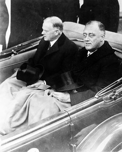Outgoing president Herbert Hoover and Roosevelt on Inauguration Day, 1933