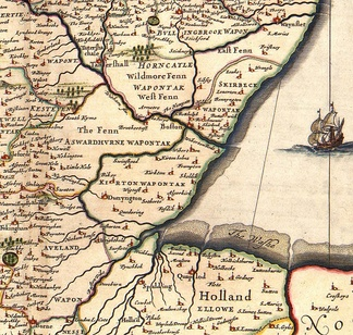 Southern Lincolnshire from a mid-17th-century atlas, showing unsettled areas within undrained fens