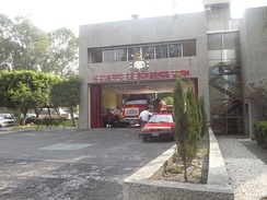 Entrance of a fire station over Ciudad Universitaria
