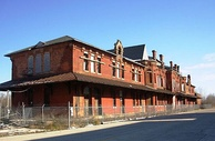 The site of the abandoned Flint & Pere Marquette Union Station, as it appeared in November 2008.