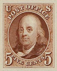 First issue of Benjamin Franklin on US postage stamp, issue of 1847