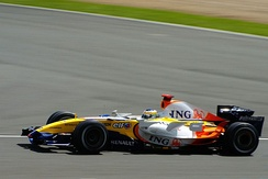 Giancarlo Fisichella driving for Renault at the 2007 British Grand Prix.