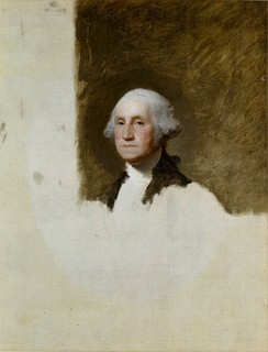 "The unfinished Gilbert Stuart portrait of George Washington, one of two portraits at the center of the ""Stuarts controversy."""