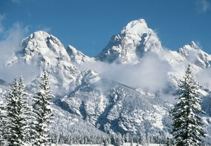 Grand Teton in Wyoming is the highest summit of the Teton Range.