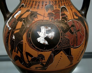 Heracles and Geryon on an Attic black-figured amphora with a thick layer of transparent gloss, c. 540 BC, now in the Munich State Collection of Antiquities.