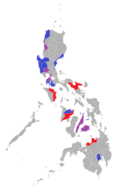 Home provinces (blue and purple) of the Presidents.