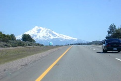 I-5 southbound approaching Weed and Mount Shasta