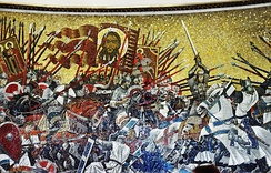 The Battle of the Ice (1242), mosaic panel commemorating a Russian Orthodox Christian defeat of crusading Teutonic Knights. Saint Petersburg metro station.