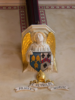 Arms of Edward Reynolds, Bishop of Norwich: See of Norwich (Azure, three mitres labelled or) impaling Reynolds (Argent, a chevron chequy gules and azure between three cross-crosslets sable). Lincoln's Inn Chapel, where he served as Preacher