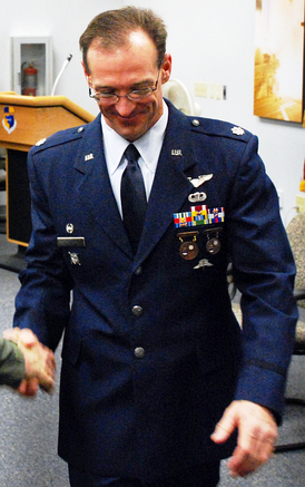 Badges earned by a U.S. Air Force officer from the 308th Rescue Squadron, circa 2008