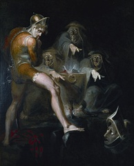 Macbeth Consulting the Vision of the Armed Head. By Henry Fuseli, 1793–1794. Folger Shakespeare Library, Washington.