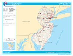 Map of New Jersey showing major transportation networks and cities