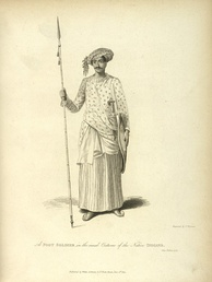 Engraving of a Maratha soldier with spear by James Forbes, 1813.