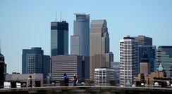 The tallest buildings in Minneapolis are, left to right, the IDS Center, Capella Tower and the Wells Fargo Center.