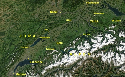 Satellite image of the Swiss Plateau between the Jura and the Alps