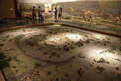 Model of a Liangzhu culture (3400 to 2250 BC) ancient city surrounded by a moat